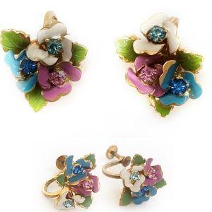 Vintage Made in Austria Floral Rhinestone Earrings